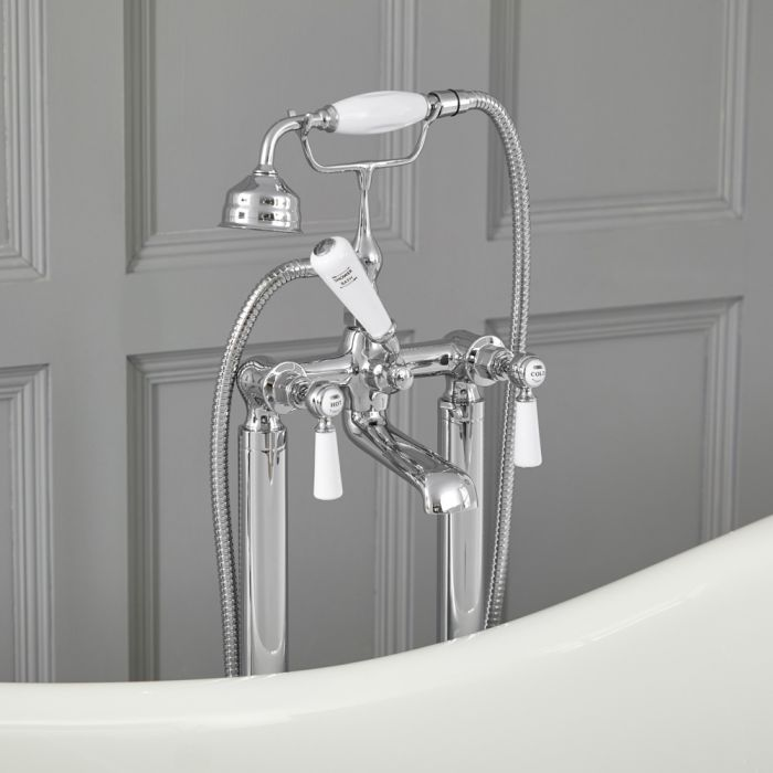 Milano Elizabeth - Traditional Freestanding Lever Bath Shower Mixer Tap with Hand Shower - Chrome and White