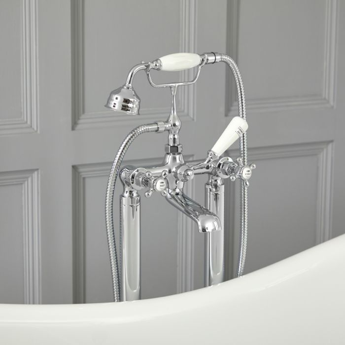 Milano Elizabeth - Traditional Freestanding Crosshead Bath Shower Mixer Tap with Hand Shower - Chrome and White
