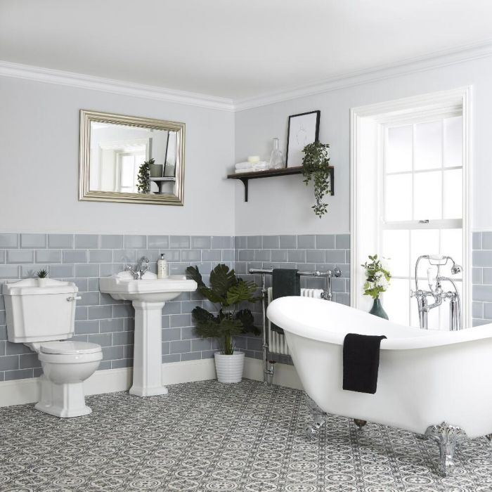 Milano Windsor - Traditional Bathroom Suite with Freestanding Bath, Close Coupled Toilet and Pedestal Basin