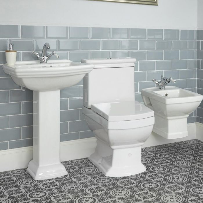 Milano Sandringham - Traditional Toilet and Wall Hung Bidet Suite with Choice of Basin