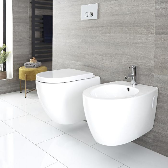 Milano Irwell - White Modern Round Rimless Wall Hung Toilet and Bidet Set - with Wall Frames and Flush Plate Option