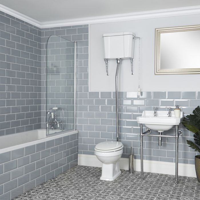 Milano Richmond - Traditional Bathroom Suite with Bath, High Level Toilet and Washstand Basin