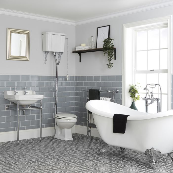 Milano Richmond - Traditional Bathroom Suite with Freestanding Bath, High Level Toilet and Washstand Basin