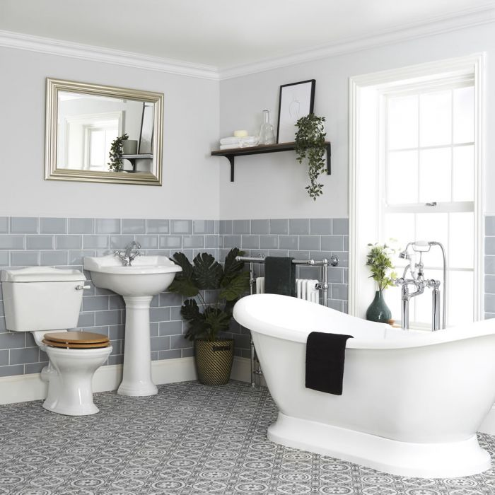 Milano Towneley - Traditional Bathroom Suite with Freestanding Bath, Close Coupled Toilet and Pedestal Basin