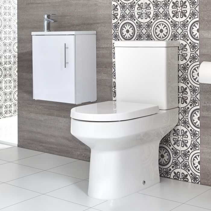 Milano Ballam - Close Coupled Toilet and 400mm Wall Hung Vanity Unit with Slimline Basin - Choice of Finish