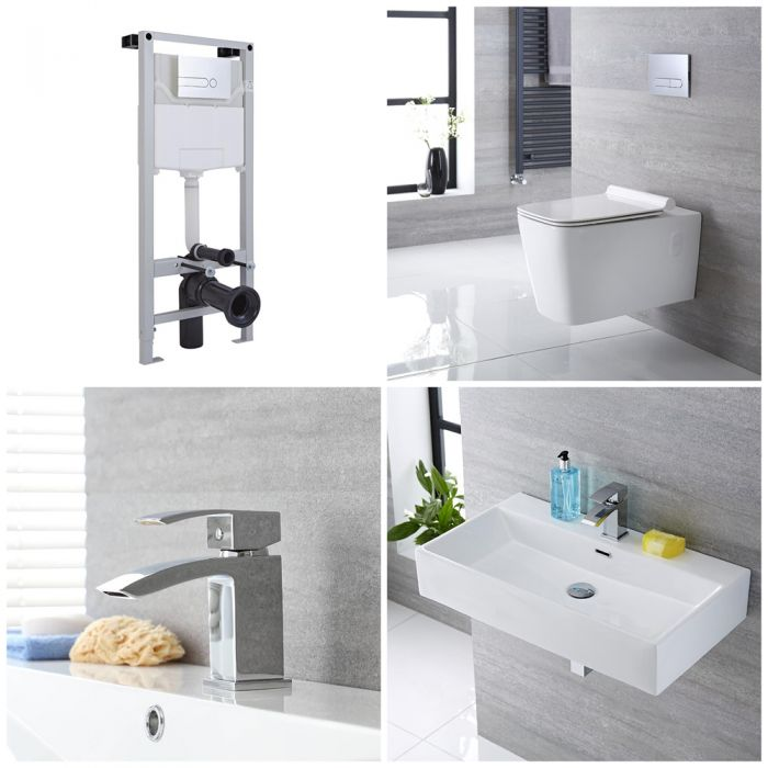 Milano Elswick - Complete Modern Cloakroom Suite with Mono Basin Tap