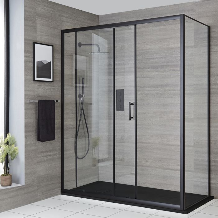 Milano Nero - Black Corner Sliding Door Shower Enclosure with Slate Tray - Choice of Sizes