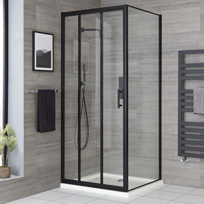 Milano Nero - Black Corner Sliding Door Shower Enclosure with Tray - Choice of Sizes