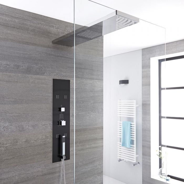 Milano Lisse - Modern Concealed Shower Tower Panel with 800mm Glass Grabbing Shower Head, Hand Shower and Body Jets - Chrome and Grey