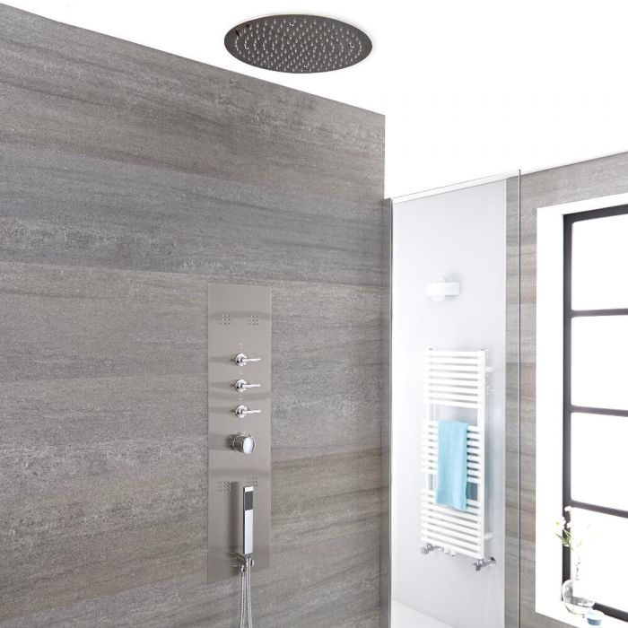 Milano Niagra - Modern Concealed Shower Tower Panel with 400mm Round Recessed Ceiling Shower Head, Hand Shower and Body Jets - Chrome