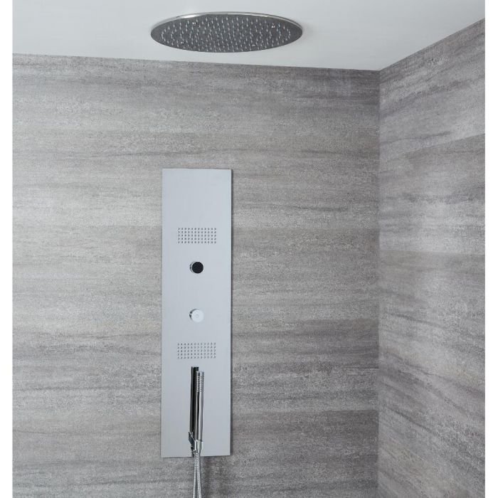 Milano Vis - Concealed Digital Shower Tower Panel with 400mm Round Recessed Ceiling Head, 2 Body Jets and Hand Shower