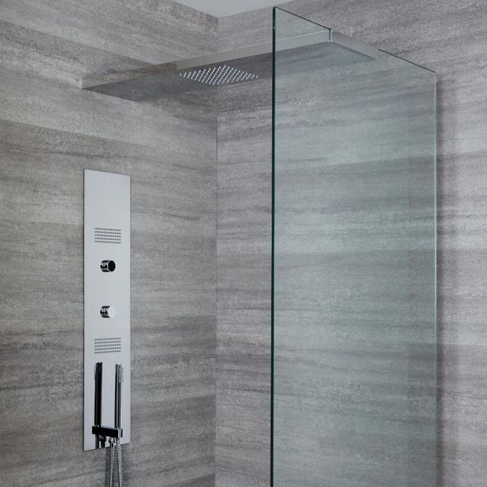 Milano Vis - Concealed Digital Shower Tower Panel with 800mm Glass Grabbing Shower Head, 2 Body Jets and Hand Shower