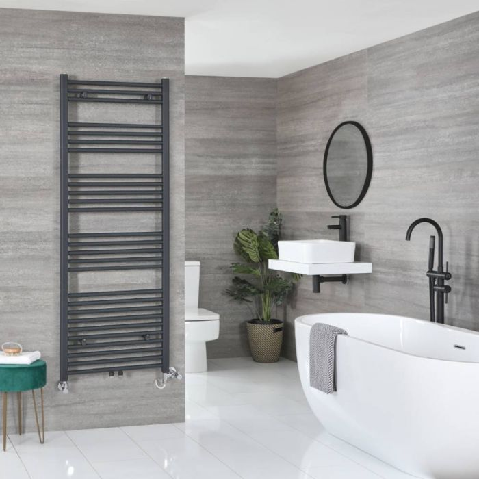 Milano Neva Dual Fuel - Anthracite Heated Towel Rail - 1600mm x 500mm