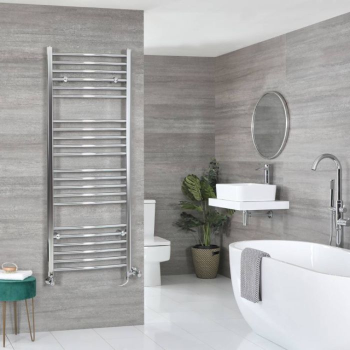 Milano Kent Dual Fuel - Chrome Curved Heated Towel Rail - 1600mm x 500mm