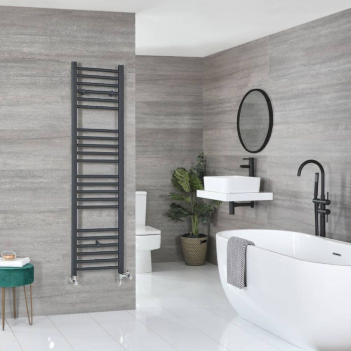 Milano Artle Dual Fuel - Anthracite Flat Heated Towel Rail - 1600mm x 400mm