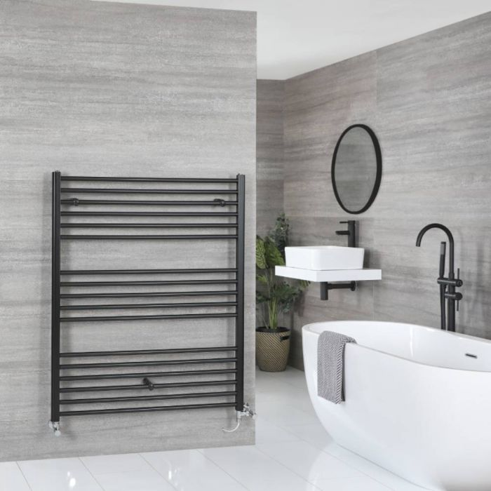 Milano Nero Dual Fuel - Black Flat Heated Towel Rail - 1200mm x 1000mm