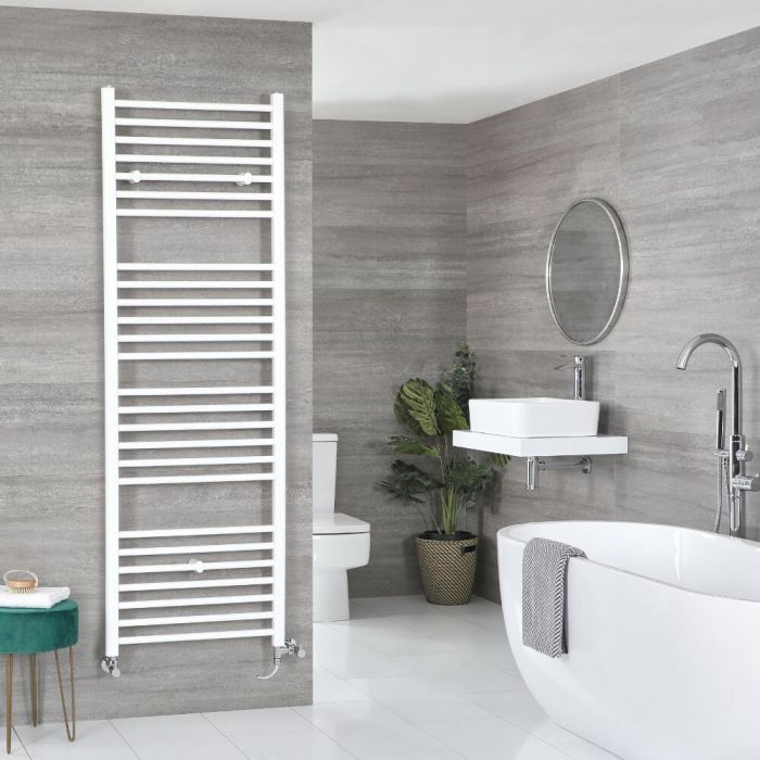 Milano Ive Dual Fuel - White Flat Heated Towel Rail - Choice of Size