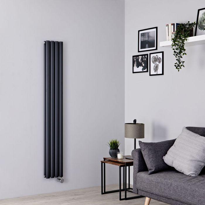 Milano Aruba Slim Electric - Anthracite Vertical Designer Radiator - 1600mm x 236mm (Double Panel)