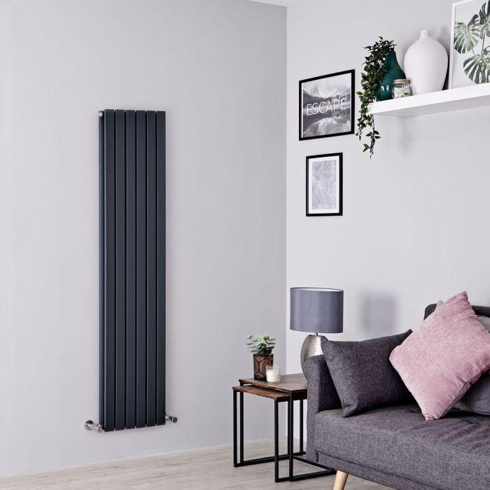 Milano Capri - Anthracite Flat Panel Vertical Designer Radiator - 1600mm x 354mm (Double Panel)