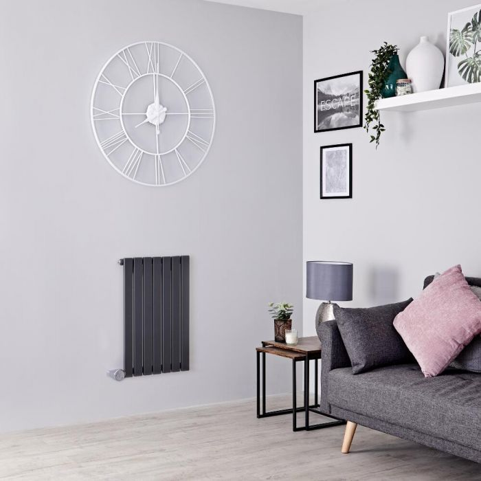 Milano Capri Electric - Anthracite Flat Panel Horizontal Designer Radiator - 635mm x 420mm