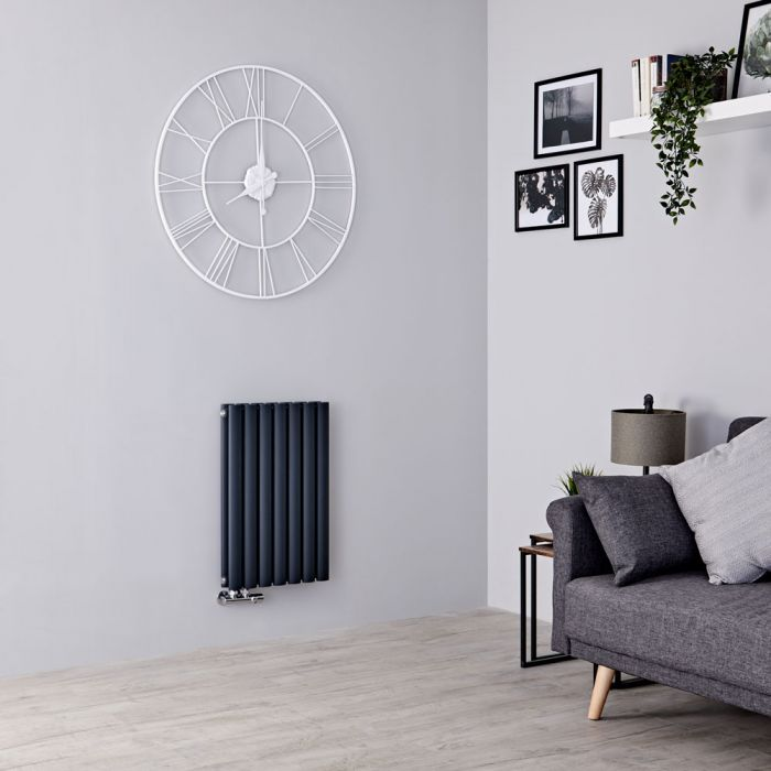 Milano Aruba Flow - Anthracite Horizontal Middle Connection Designer Radiator - 635mm x 415mm (Double Panel)