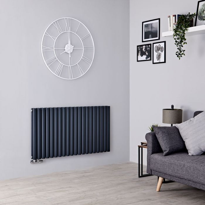 Milano Aruba Flow - Anthracite Horizontal Middle Connection Designer Radiator - 635mm x 1180mm (Double Panel)