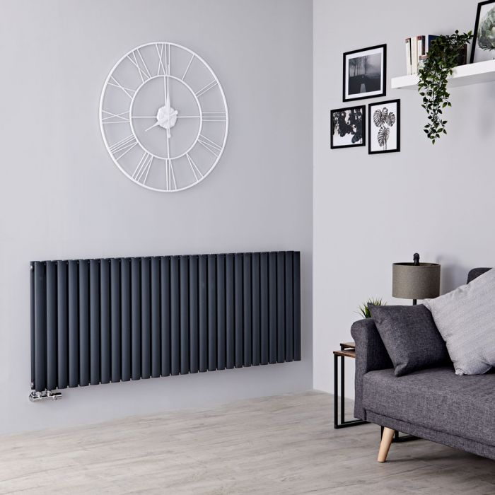 Milano Aruba Flow - Anthracite Horizontal Middle Connection Designer Radiator - 635mm x 1647mm (Double Panel)