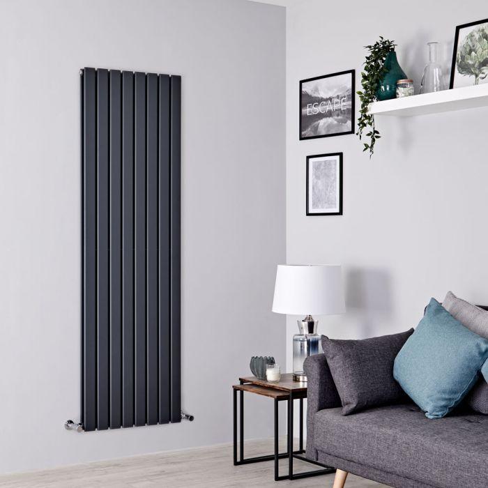 Milano Alpha - Anthracite Flat Panel Vertical Designer Radiator - 1600mm x 560mm (Double Panel)