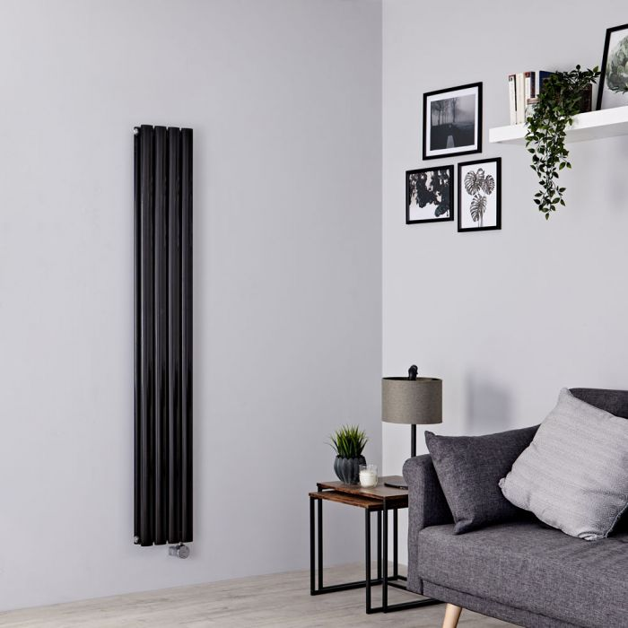 Milano Aruba Slim Electric - Black Vertical Designer Radiator - 1600mm x 236mm (Double Panel)