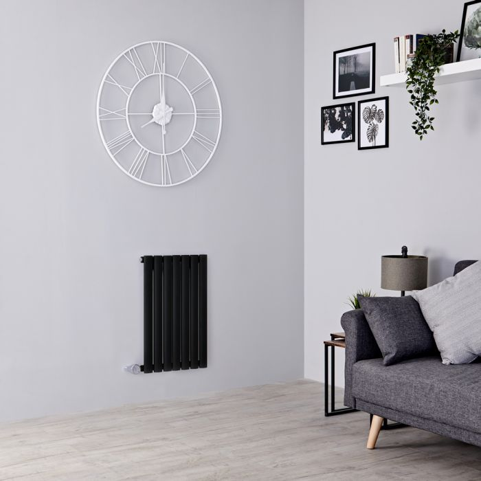 Milano Aruba Electric - Black Horizontal Designer Radiator - 635mm x 415mm