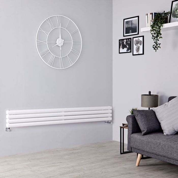 Milano Aruba Slim - White Space-Saving Horizontal Designer Radiator - 236mm x 1600mm (Double Panel)