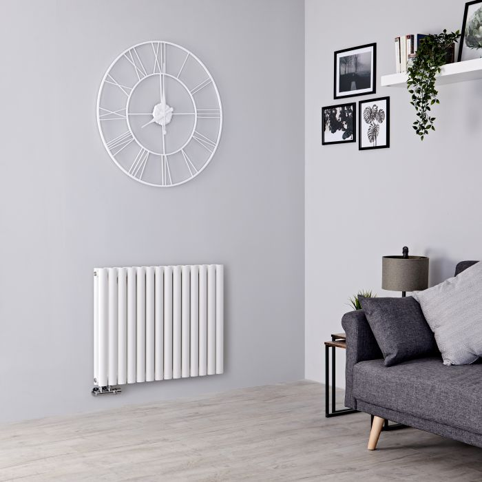 Milano Aruba Flow - White Horizontal Middle Connection Designer Radiator - 635mm x 834mm (Double Panel)