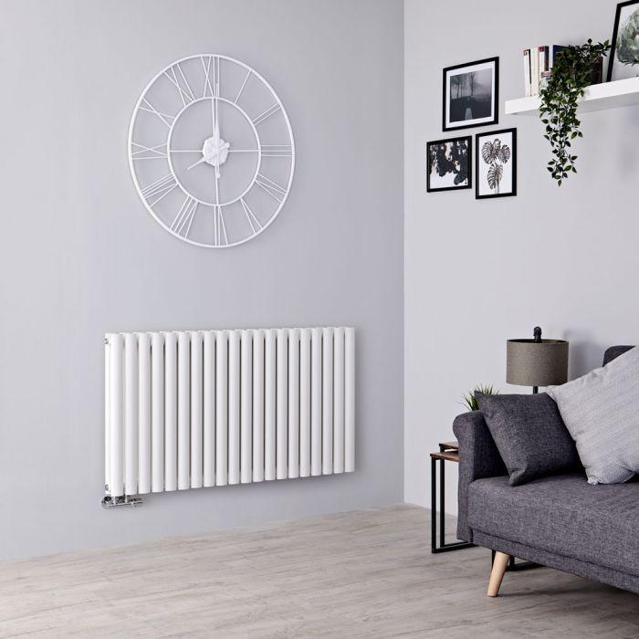 Milano Aruba Flow - White Horizontal Middle Connection Designer Radiator - 635mm x 1180mm (Double Panel)