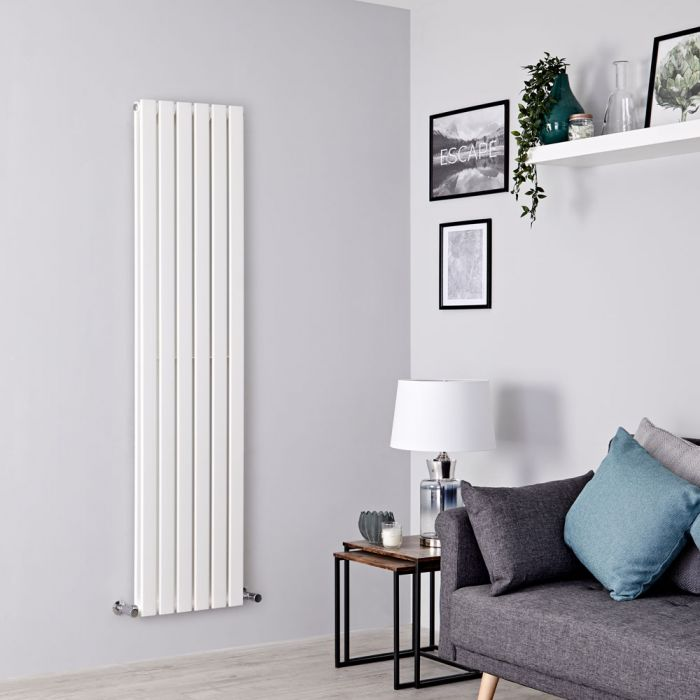 Milano Alpha - White Flat Panel Vertical Designer Radiator - 1600mm x 420mm (Double Panel)