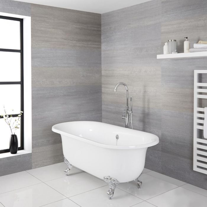 Milano Richmond - White Traditional Freestanding Bath with Choice of Feet - 1750mm x 790mm (No Tap-Holes)