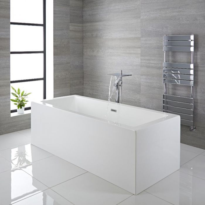 Milano Westby - White Modern Square Double-Ended Freestanding Bath - 1785mm x 790mm