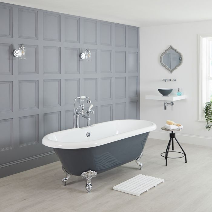 Milano Hest - Stone Grey Traditional Double-Ended Freestanding Bath - 1795mm x 785mm (No Tap-Holes)
