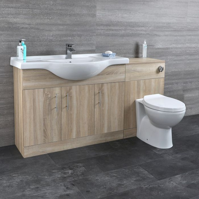 Milano Arch - Modern 1540mm Vanity and WC Combination Unit with Pan and Cistern