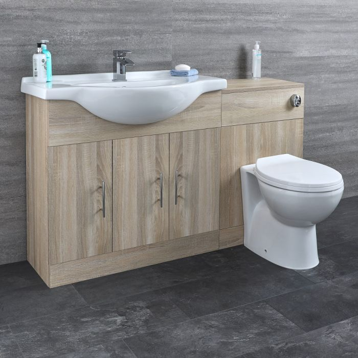 Milano Arch - Oak Modern 1340mm Vanity and WC Combination Unit with Pan and Cistern