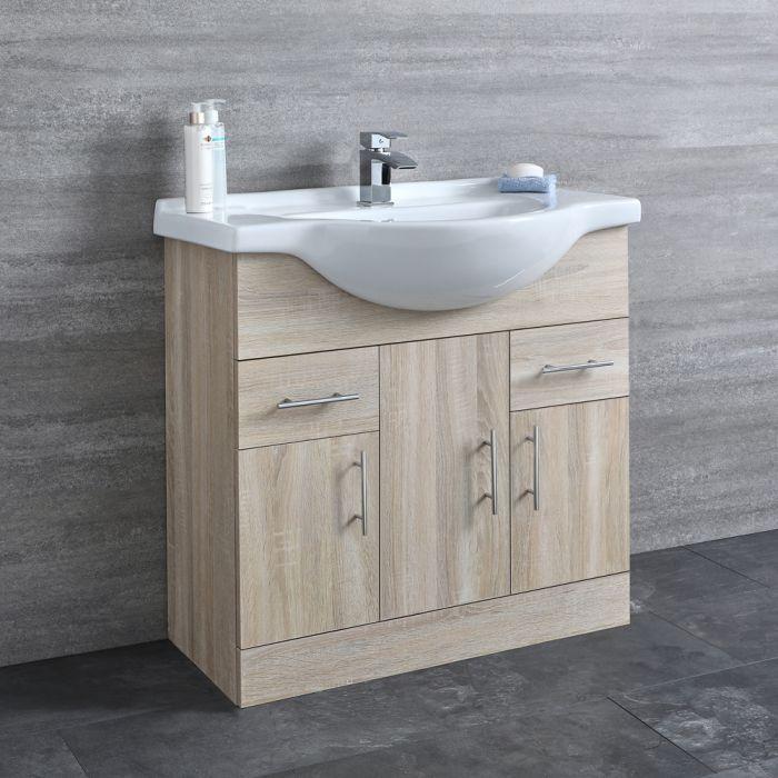 Milano Arch - Oak 850mm Floor Standing Vanity Unit with Basin