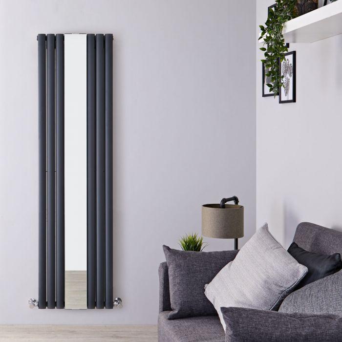 Milano Aruba - Anthracite Vertical Designer Radiator With Mirror - 1800mm x 499mm (Double Panel)