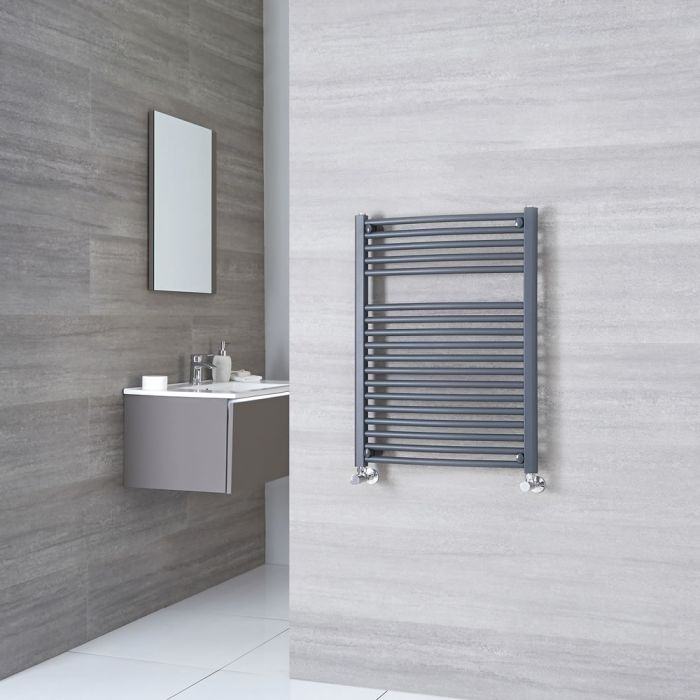 Milano Brook - Anthracite Flat Heated Towel Rail - 800mm x 500mm