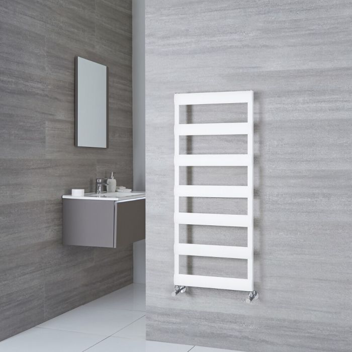Milano Passo - Aluminium White Designer Heated Towel Rail - 1190mm x 500mm