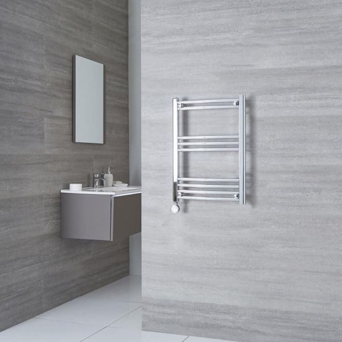 Milano Ribble Electric - Chrome Curved Heated Towel Rail - 700mm x 400mm