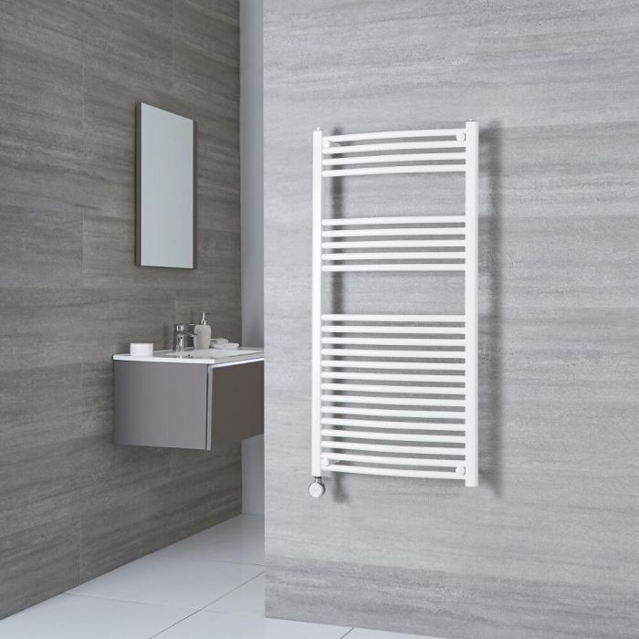 Milano Calder Electric - White Curved Heated Towel Rail - 1200mm x 500mm