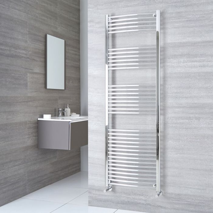 Milano Ribble - Chrome Curved Heated Towel Rail - 1800mm x 500mm