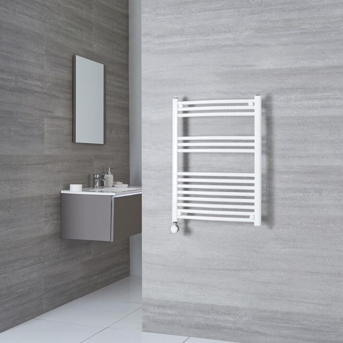 Milano Calder Electric - White Curved Heated Towel Rail - 800mm x 600mm