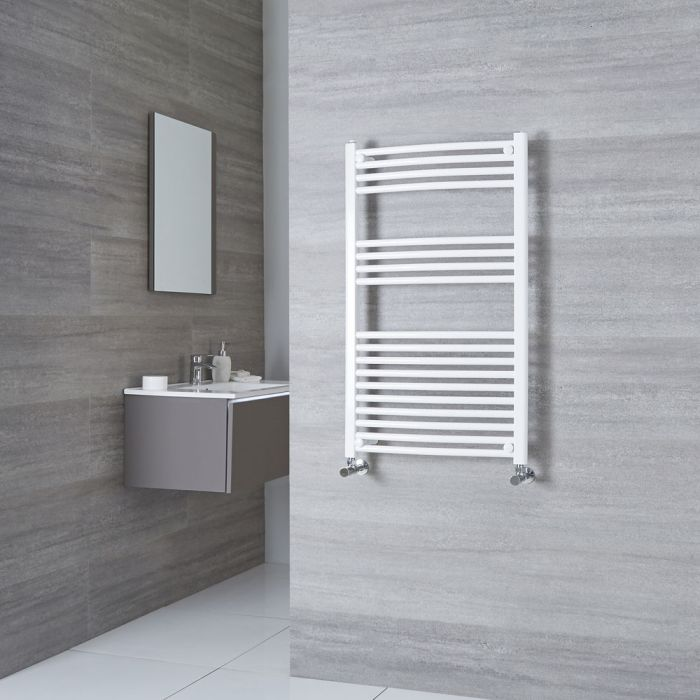 Milano Calder - White Curved Heated Towel Rail - 1000mm x 600mm