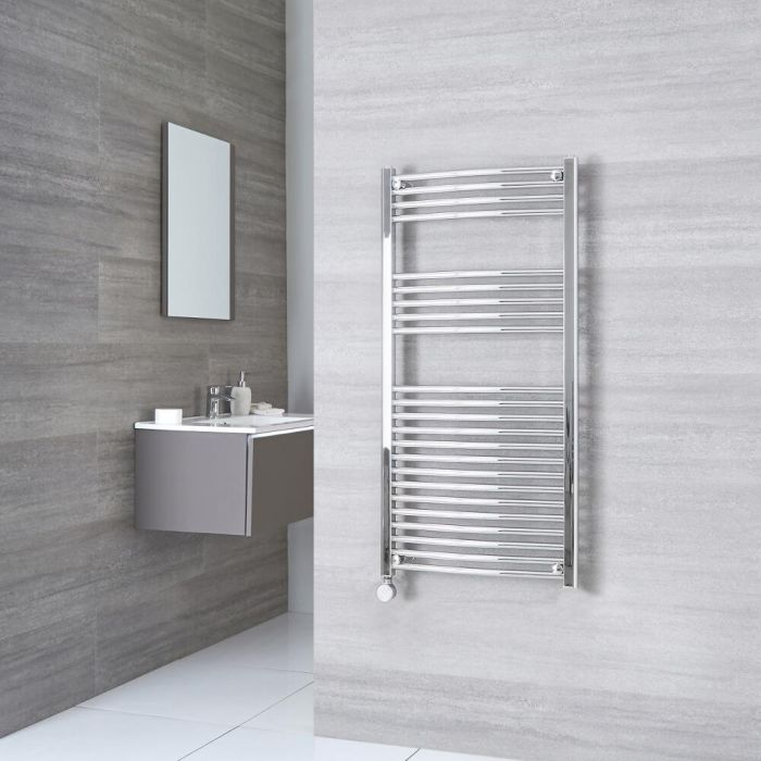 Milano Ribble Electric - Chrome Curved Heated Towel Rail - 1200mm x 600mm