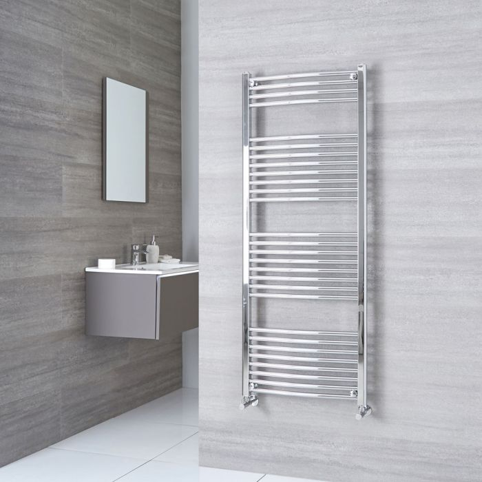 Milano Ribble - Chrome Curved Heated Towel Rail - 1500mm x 600mm
